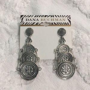Dana Buchman - tribal post earrings - silver tone